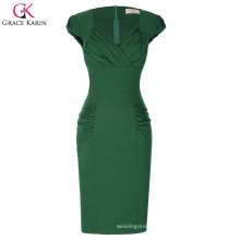 Grace Karin Retro Vintage Cap Sleeve V-Neck Hips-Wrapped Green Bodycon Pencil Dress CL010449-1