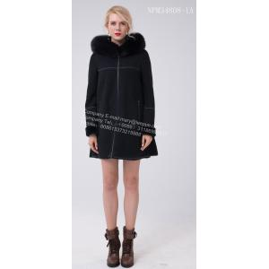 Kvinnor Vinter Australien Merino Shearling Hooded Jcket