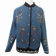 Women's jacket with embroidery allover the body