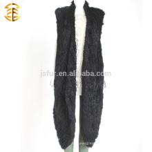 Otoño y Invierno Negro mano Crochet conejo piel chaleco hecho punto chaleco largo de piel de conejo estilo para Wemon