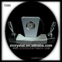 Magnifique horloge en cristal K9 T080