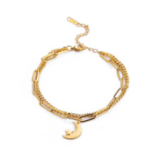 Foreign trade cross-border net red festival style stars and moon gold multi-layer business ladies bracelets