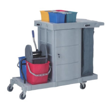 hand push hotel high quality rubber wheel plastic tool multifunctional cleaning service janitor cart trolley with lock cupboard