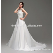 Hot sell cheap luxury ladies crochet lace backless saudi arabian wedding dress for bride