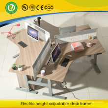 2015 electronic height adjustable 120 degree curved desk for 3 peoples