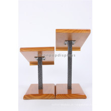 Custom Metal Rod Wooden Holder Countertop Shoes Loja de varejo Commercial Stand Wear Display Unit