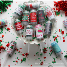 New Product Christmas Toy Push Pop with Green & Red Confetti for Kids