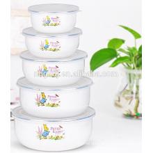 5 pc printed enamel bowl & ice bowl set Chinese style enamel bowl