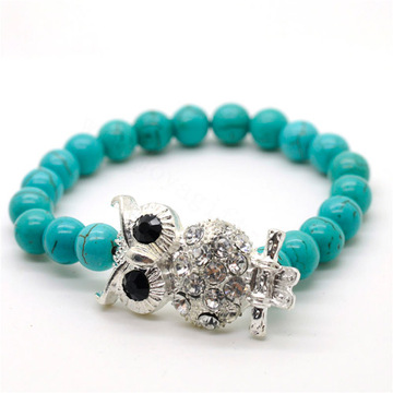 Turquoise 8MM Round Beads Stretch Gemstone Bracelet with Diamante alloy Owl Piece