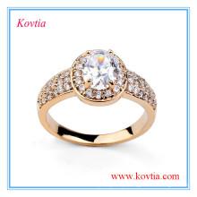 Anel de casamento grande do diamante da jóia do ouro de dubai na moda