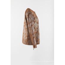 Jaqueta de tricô em camurça plissada