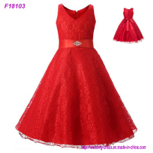 2017 Vintage Flower Girl Dresses para Casamentos Red Custom Made Princess Sequined Appliqued Lace Bow Kids First Communion Gowns