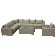 Muebles de la rota de mimbre al aire libre, salón seccional sofá conjunto jardín