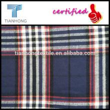 hilo de algodón de nueva temporada 100 2016 teñido tela cruzada armadura tela cuadros check raya patrón flennel paño grueso y suave para la camisa
