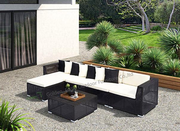 PE wicker aluminium sofa set