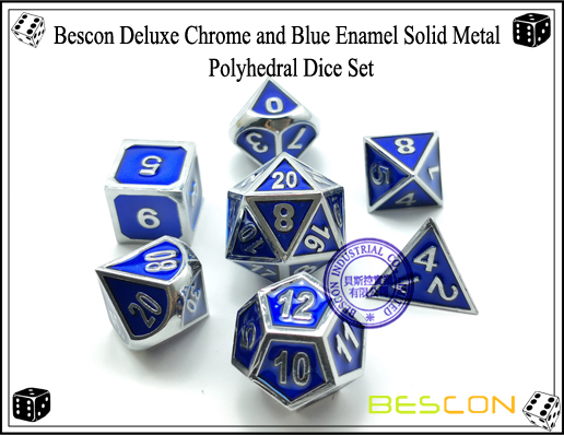 Bescon Deluxe Chrome and Blue Enamel Solid Metal Polyhedral Role Playing RPG Game Dice Set (7 Die in Pack)-2