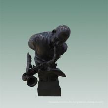 Büsten Messing Statue Saxophon Mann Dekor Bronze Skulptur Tpy-485
