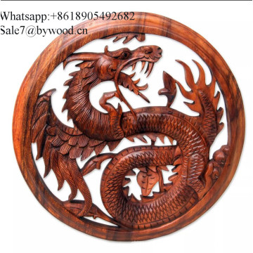 Colgante de pared hecho a mano paneles de madera tallada paneles de madera maciza imagen de dragón artesanías de madera tallada