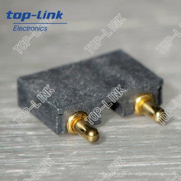 Federbelasteter Pogo Pin Stecker mit rechtem Winkel, 2 Pin
