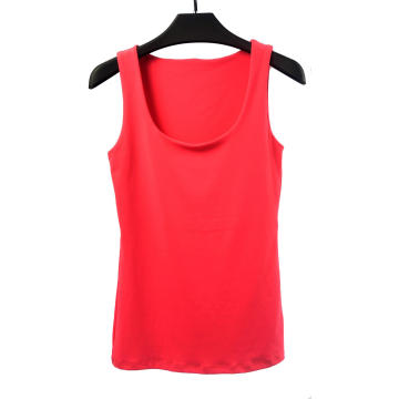 Camiseta feminina de gola redonda em cor sólida