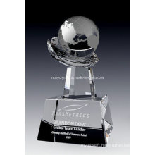 Globe on Crystal Hand Award (NU-CW817)