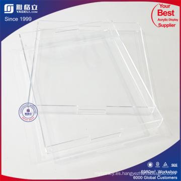 Bandeja cuadrada de acrílico cuadrado claro de la fábrica
