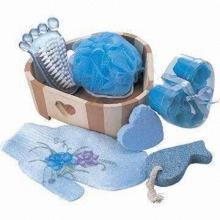 Wooden Bath Gift Set , Includes Bath Natural Sponge, Wooden Massager,