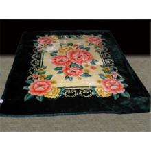 flower print & carved heavy polyester blanket