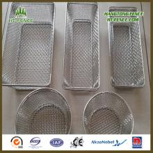 Cesta de malla de alambre de acero inoxidable personalizada para cesta de la comida / cesta de la cocina