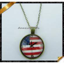 Collar pendiente de diseño de la bandera de los EEUU, collar de la manera con la cadena (FN036)