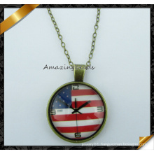 USA Flag Design Pendant Necklace, Fashion Necklace with Chain (FN036)