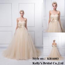 2016 новое поступление на заказ горячая распродажа мода элегантный мусульманских рукавов невесты платья длинные Китай