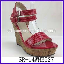 SR-14WHE527 2014 PU Frauen Plattform Keile Sandalen neue Modell Sommer römischen Sandalen reifen sexy Frauen Keile Sandalen