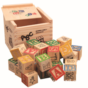 Carved 26 Alphabet Building Blocks Wooden Puzzle Toys