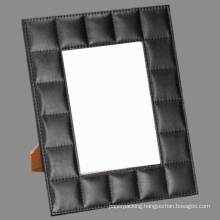 5 X 7 Decorative Stitched Grid Leather Photo Frame