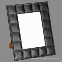 5 X 7 moldura de quadro de couro de grade cosida decorativa