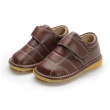 Chaussures intérieures en cuir véritable Baby Boy Brown 1-2-3y