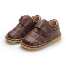 Baby Boy Brown Couro Genuine Inner Shoes 1-2-3y
