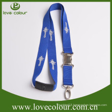 Hot sale cheap custom screen printed nylon lanyard with gold/silvery hook