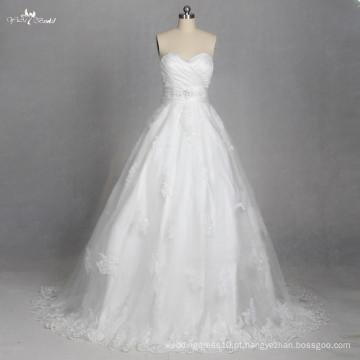 LZ179 Sweetheart Lace Up Wedding Applique Vestido de renda Vestido De noiva