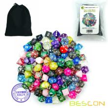 Bescon 120pcs Treasure Set, Randomly Mixed RPG Dice Pack of 120; Polyhedral Dice Mix of Rainbow Glitter,Gem,Swirly, Stone Styles