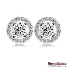 Boucles d'oreilles de mariage Circle Zircon pour femmes (CER0002-B)