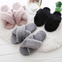 2021 New Criss Cross Fluffy Slippers for Ladies with Flat Flops and Plush Slippers