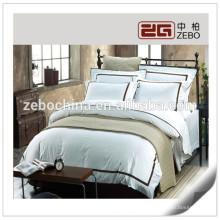 Venta caliente al por mayor de algodón blanco hotel utilizado juegos de cama completa