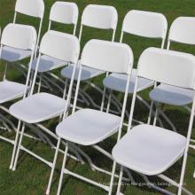 Белый коммерчески Поли складной стул с металлическим каркасом