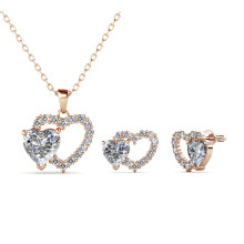 Dear Love Set Charm Pendant and Earrings Set 18K Gold Plated Crystal Jewelry Double Heart Set