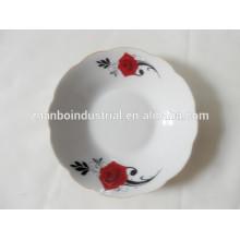Placa profunda de porcelana con borde cortado, placas de cerámica blanca a granel
