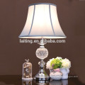 Polished chrome finish light blue shade crystal table lamp 20064