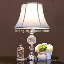 Polished chrome finish light blue shade crystal table lamp 20064
