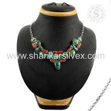 Великолепное мульти драгоценного камня серебряное ожерелье, оптовая 925 ювелирные изделия стерлингового серебра индийский ювелирные изделия